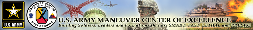 Fort Benning website welcome banner and header