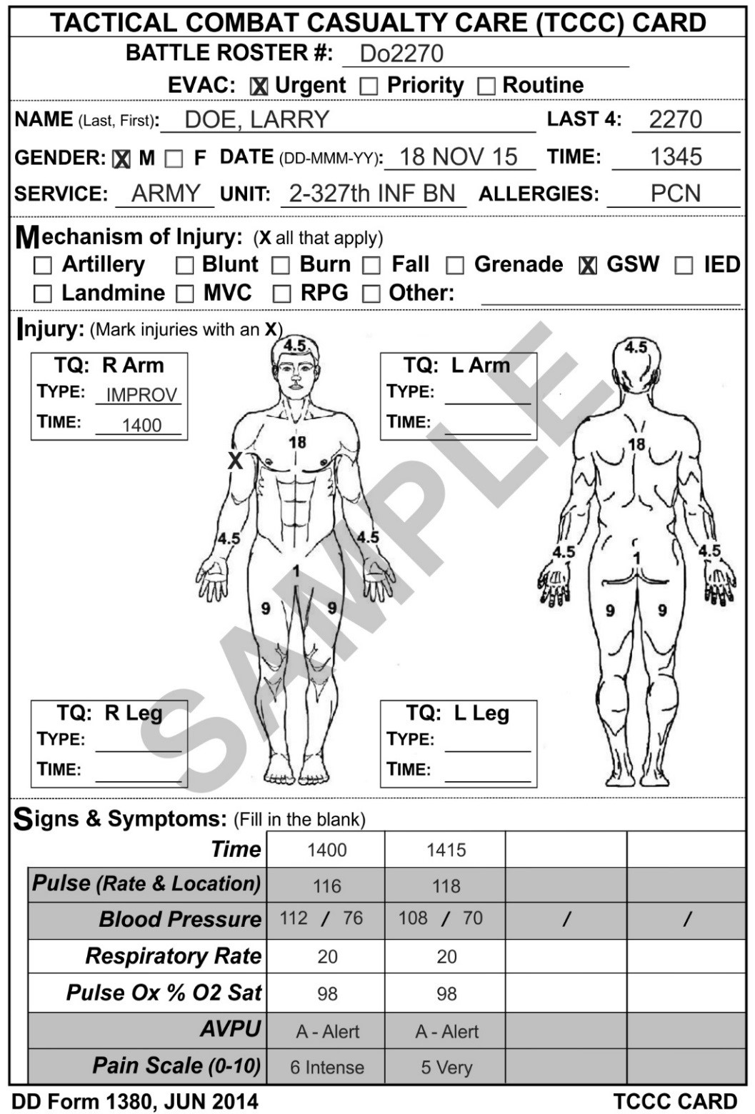 DD Form 1380, Tactical Combat Casualty Care (TCCC) Card