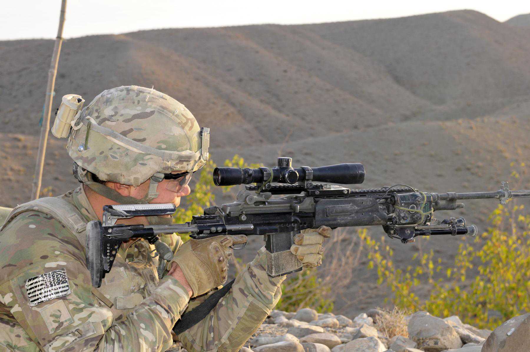 U.S. Soldier scans his sector with an M14 Enhanced Battle Rifle.