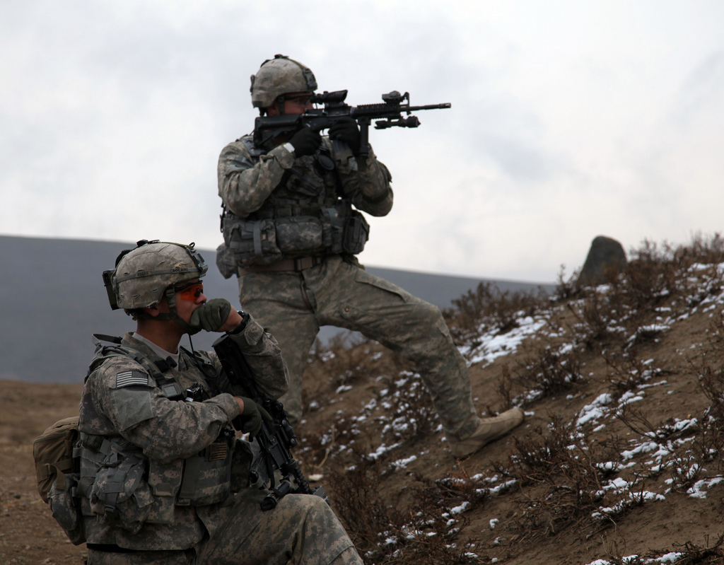 U.S. Soldiers during an attack in Afghanistan.